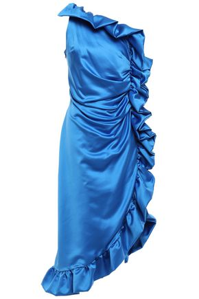 AINEA One-shoulder ruffled duchesse-satin dress