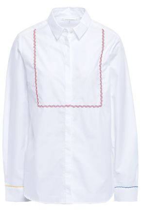CHINTI AND PARKER Embroidered cotton-poplin shirt