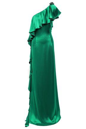ZAC ZAC POSEN Embellished ruffled one-shoulder satin-crepe gown