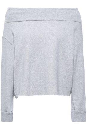 RTA Off-the-shoulder cotton-blend fleece sweatshirt