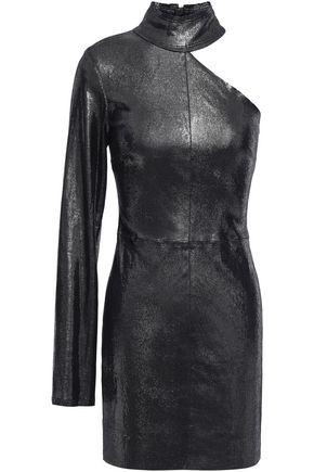 RTA Cutout lizard-effect leather mini dress