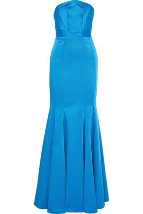 ZAC ZAC POSEN Nolita strapless pleated satin-faille gown