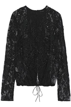 TOM FORD Open-back appliquéd corded lace top