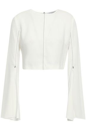CUSHNIE Cropped crepe top