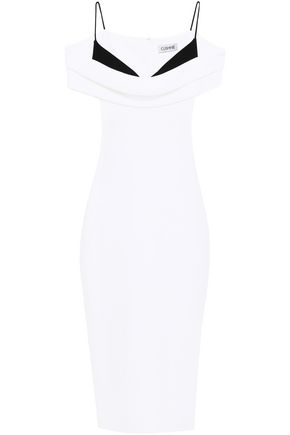 CUSHNIE Cold-shoulder two-tone crepe de chine dress