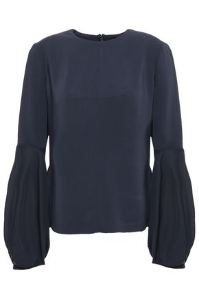 CUSHNIE Chiffon-paneled stretch-crepe blouse