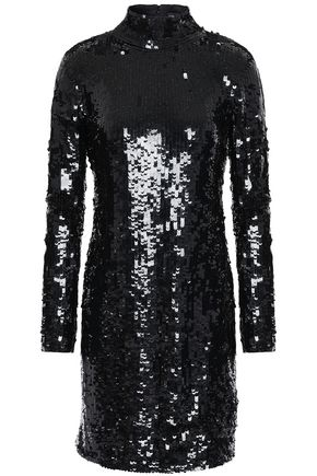 HANEY Open-back sequined tulle turtleneck mini dress