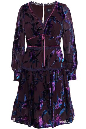 MARCHESA NOTTE Velvet-trimmed tiered devoré dress