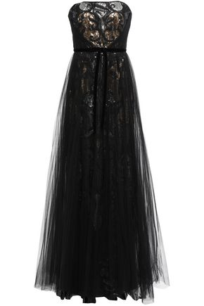 MARCHESA NOTTE Strapless layered embellished tulle gown