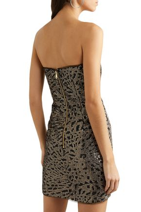 HANEY Naomi strapless sequined tulle mini dress