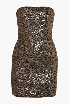 HANEY Strapless sequined tulle mini dress
