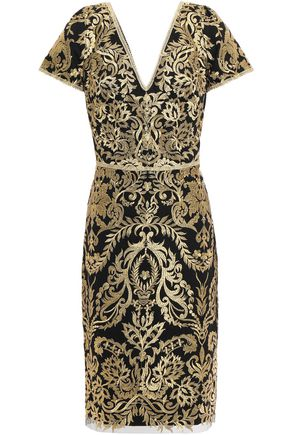 MARCHESA NOTTE Metallic embroidered tulle dress