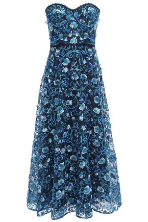 MARCHESA NOTTE Strapless embellished tulle midi dress