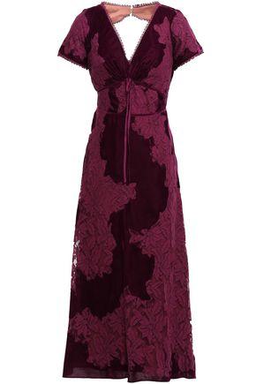 MARCHESA NOTTE Open-back lace and velvet midi dress