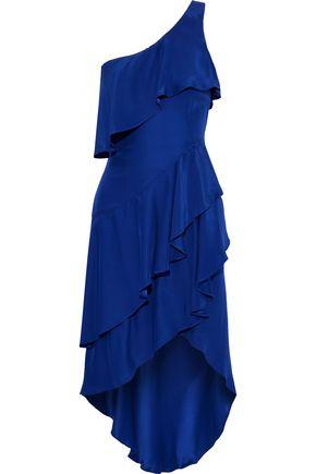 HANEY Claudia one-shoulder ruffled silk-satin dress