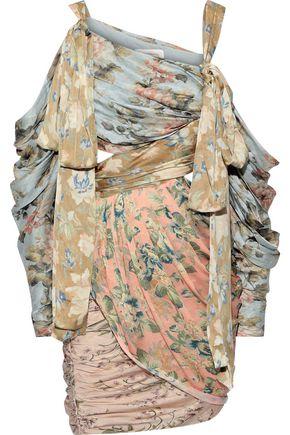 ZIMMERMANN Unbridled Elixir cold-shoulder cutout floral-print silk-satin mini dress