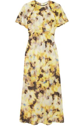 GEORGIA ALICE Acid floral-print cotton and silk-blend organza midi dress