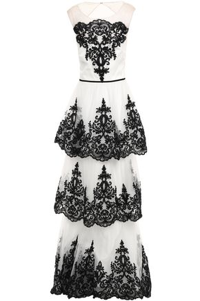MARCHESA NOTTE Tiered cutout embellished tulle gown