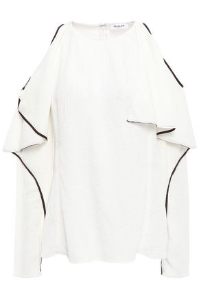 MUGLER Cold-shoulder ruffled seersucker top