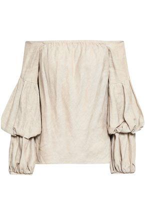 PETERSYN Lily off-the-shoulder linen-blend top