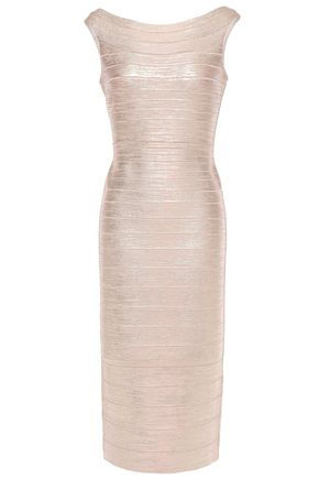 HERVÉ LÉGER Coated bandage midi dress