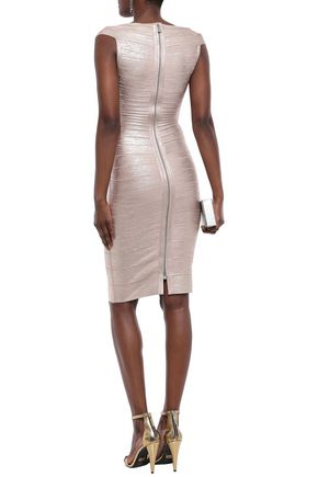 HERVÉ LÉGER Metallic coated bandage dress