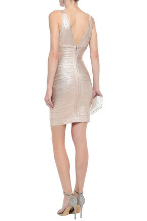 HERVÉ LÉGER Metallic coated bandage mini dress