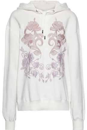 DOLCE & GABBANA Embroidered French cotton-terry hoodie