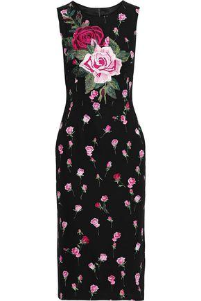 DOLCE & GABBANA Appliquéd floral-print stretch-silk dress