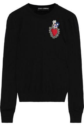 DOLCE & GABBANA Floral-appliquéd intarsia-knit sweater