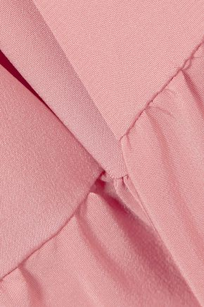 TIBI Cropped ruffle-trimmed silk crepe de chine jumpsuit