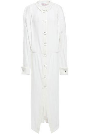 MUGLER Plissé-woven midi dress