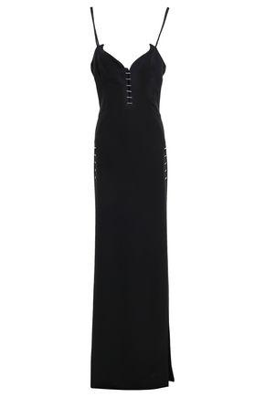 MUGLER Embellished cutout split-front stretch-crepe gown