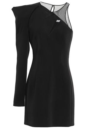 MUGLER Tulle-paneled scuba mini dress