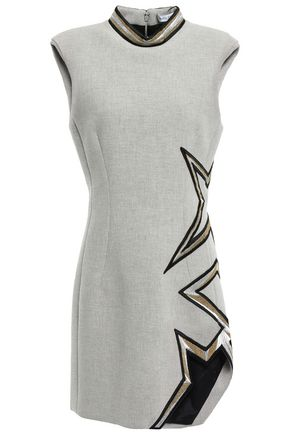 MUGLER Asymmetric embellished woven mini dress
