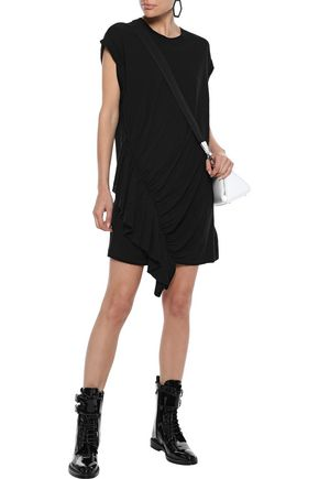 Current Elliott Current/Elliott Woman The Pacific Ave Ruffled Linen And Cotton-Blend Jersey Mini Dress Black