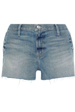 CURRENT/ELLIOTT The Skiff button-detailed faded denim shorts