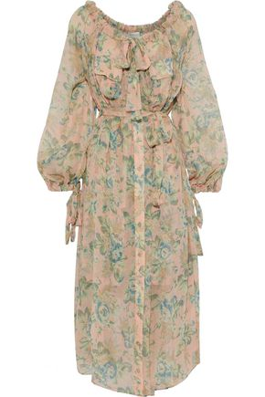 ZIMMERMANN Tempest pussy-bow floral-print silk-georgette midi dress