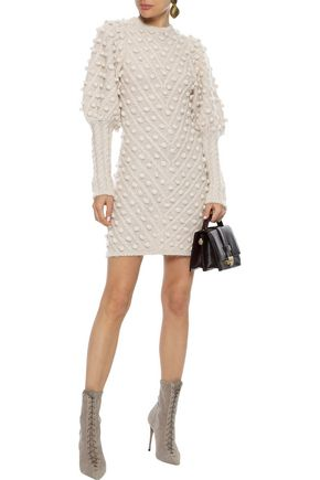 Zimmermann Unbridled Pompom-embellished Knitted Mini Dress In Ecru