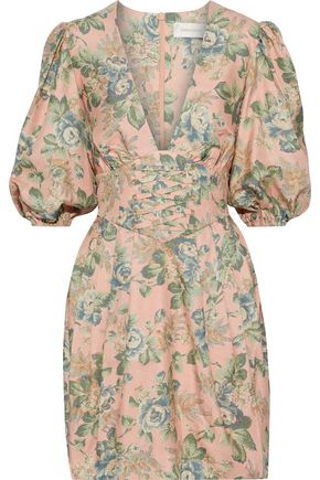 ZIMMERMANN Tempest lace-up floral-print silk mini dress