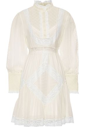 ZIMMERMANN Unbridled Tucked lace-trimmed pleated floral-print silk-chiffon mini dress