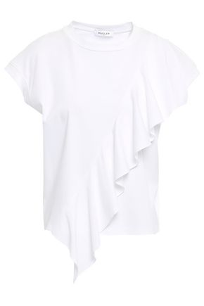 MUGLER Split-back ruffled cotton-jersey T-shirt