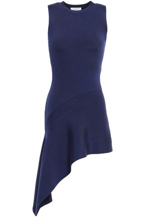 MUGLER Asymmetric ribbed-knit tunic