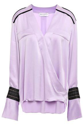 AMANDA WAKELEY Wrap-effect velvet-trimmed silk-satin top