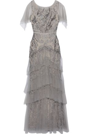 MARCHESA NOTTE Tiered metallic embroidered tulle gown