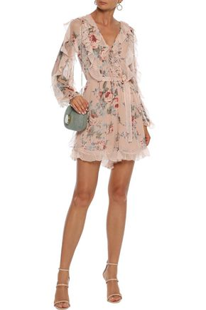 Zimmermann Bowie Frill Printed Silk-chiffon Playsuit In Peach
