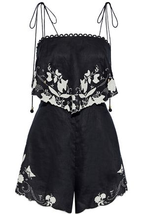 ZIMMERMANN Layered embroidered linen playsuit