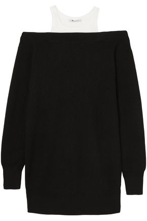 ALEXANDERWANG.T Layered merino wool-blend and cotton dress