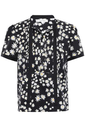 CHINTI & PARKER Pintucked floral-print cotton and silk-blend shirt