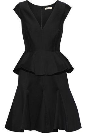 HALSTON HERITAGE Cotton and silk-blend peplum mini dress